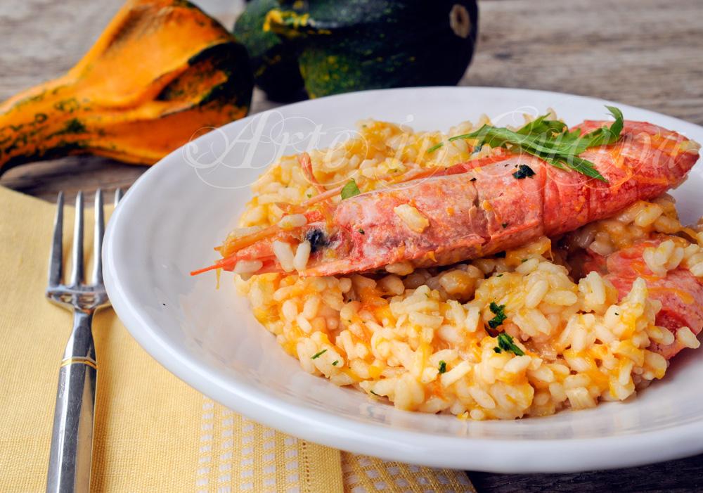 Risotto allo spumante con zucca e gamberoni vickyart arte in cucina