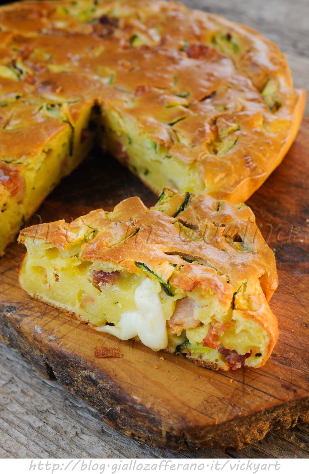 Torta con zucchine e salumi ricetta salata veloce vickyart arte in cucina
