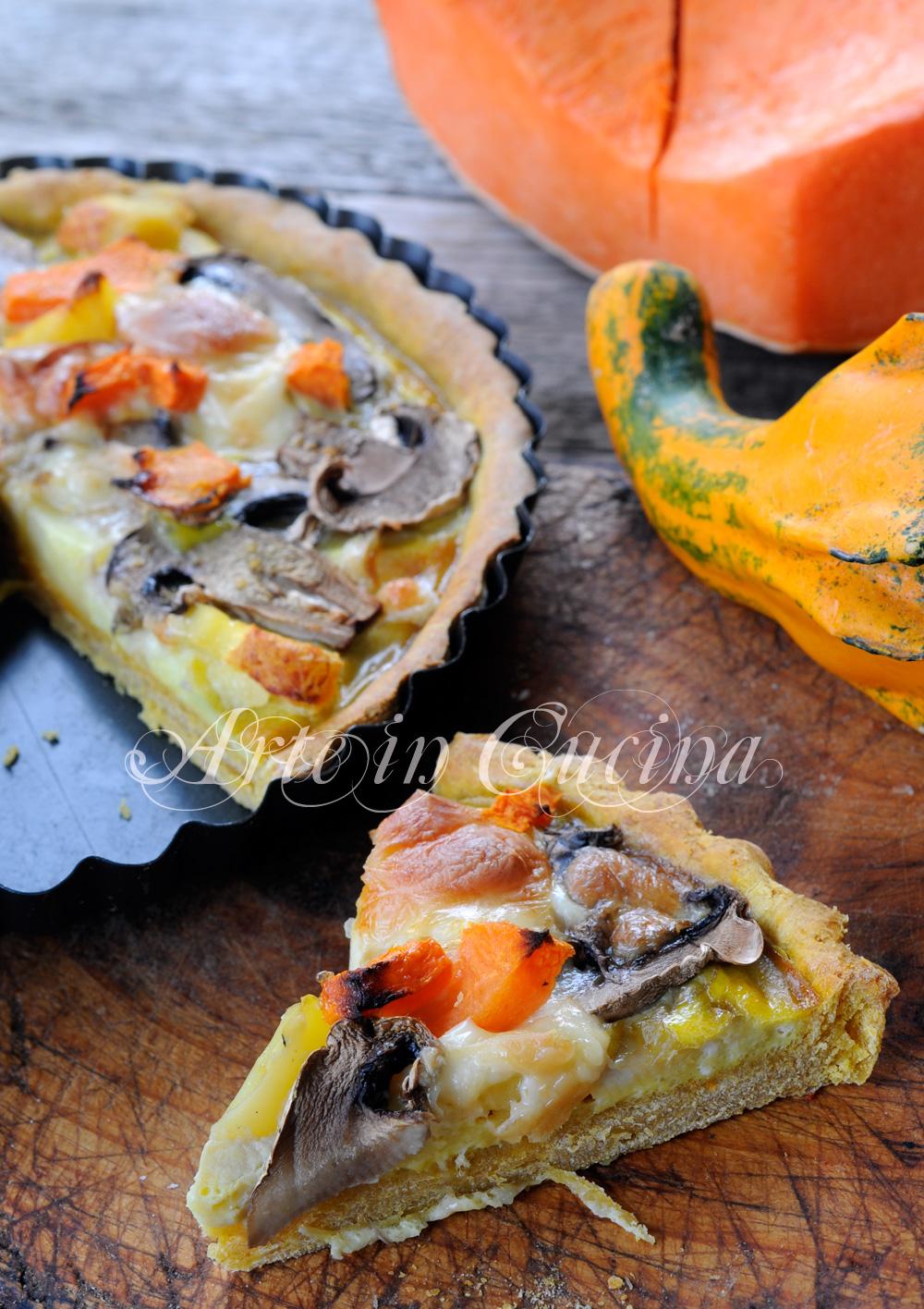 Crostata di zucca patate e funghi ricetta piatto unico vickyart arte in cucina