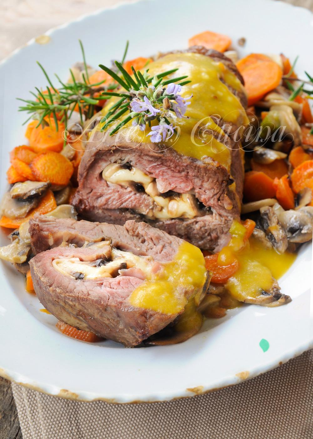 Rolle di vitello al forno farcito con funghi ricetta vickyart arte in cucina