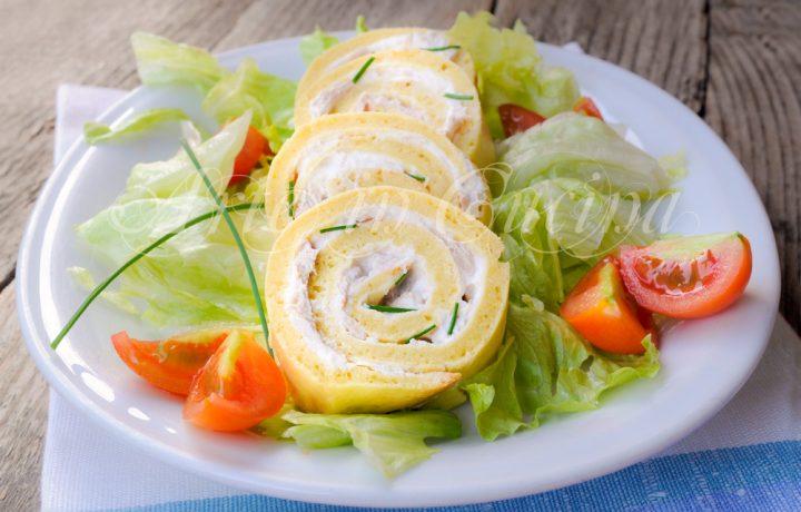 Rotolo salato farcito veloce con tonno e ricotta