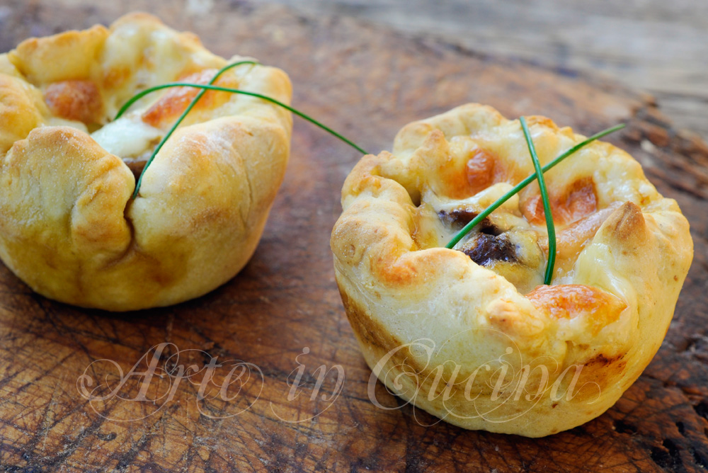 Tortine funghi e scamorza antipasto veloce vickyart arte in cucina