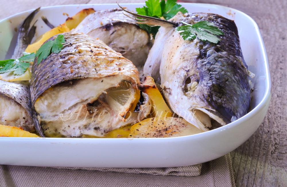 Cefalo al forno con patate e pinzimonio ricetta facile vickyart arte in cucina