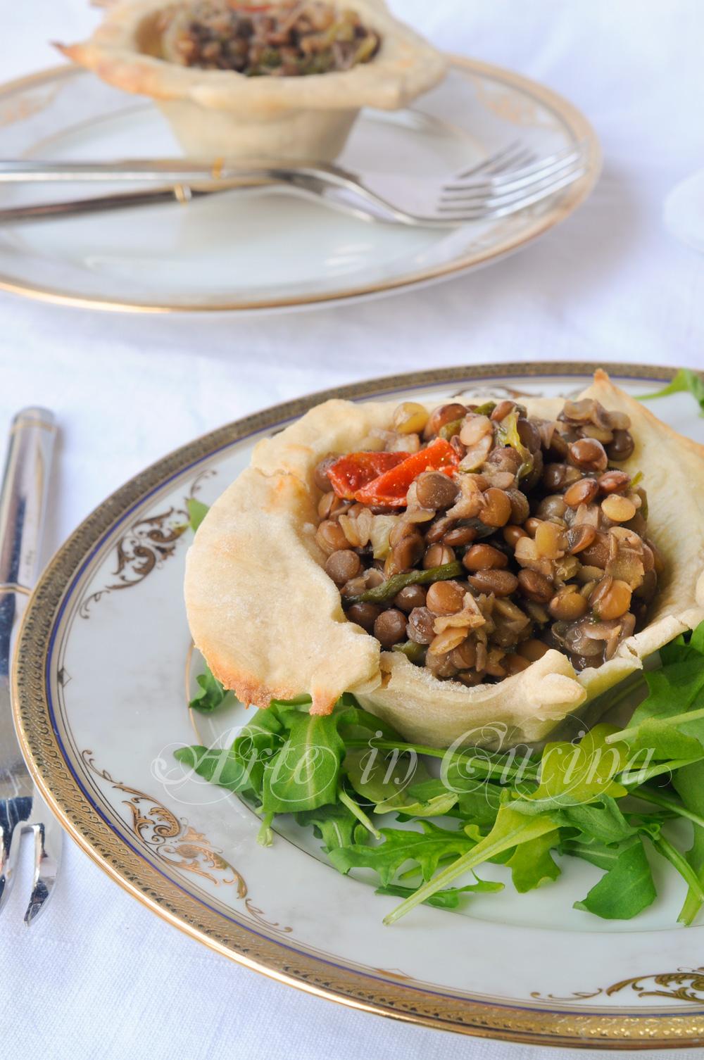 Cestini ripieni di lenticchie e scarola ricetta facile vickyart arte in cucina