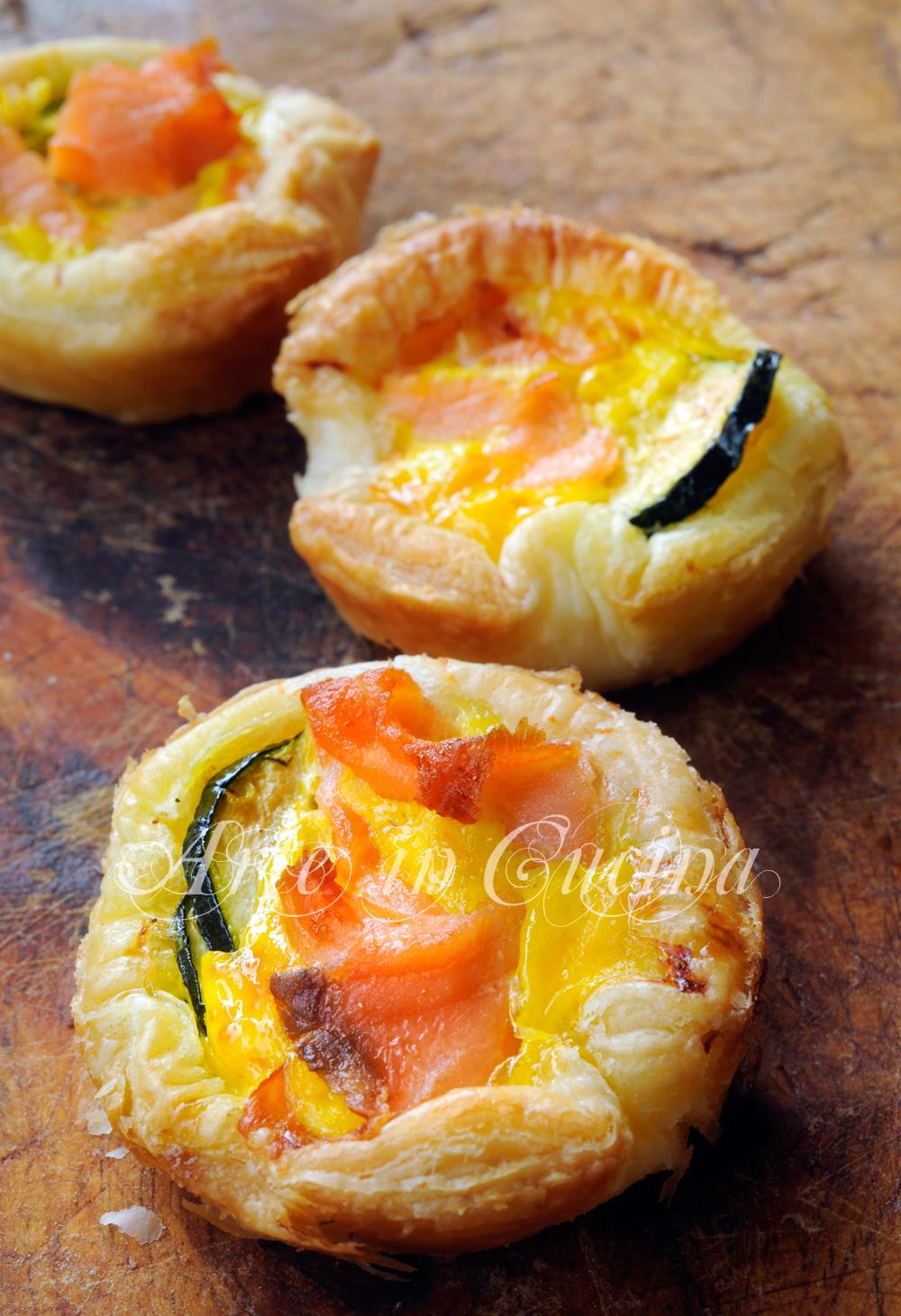 Cestini di sfoglia salmone e zucchine ricetta veloce vickyart arte in cucina