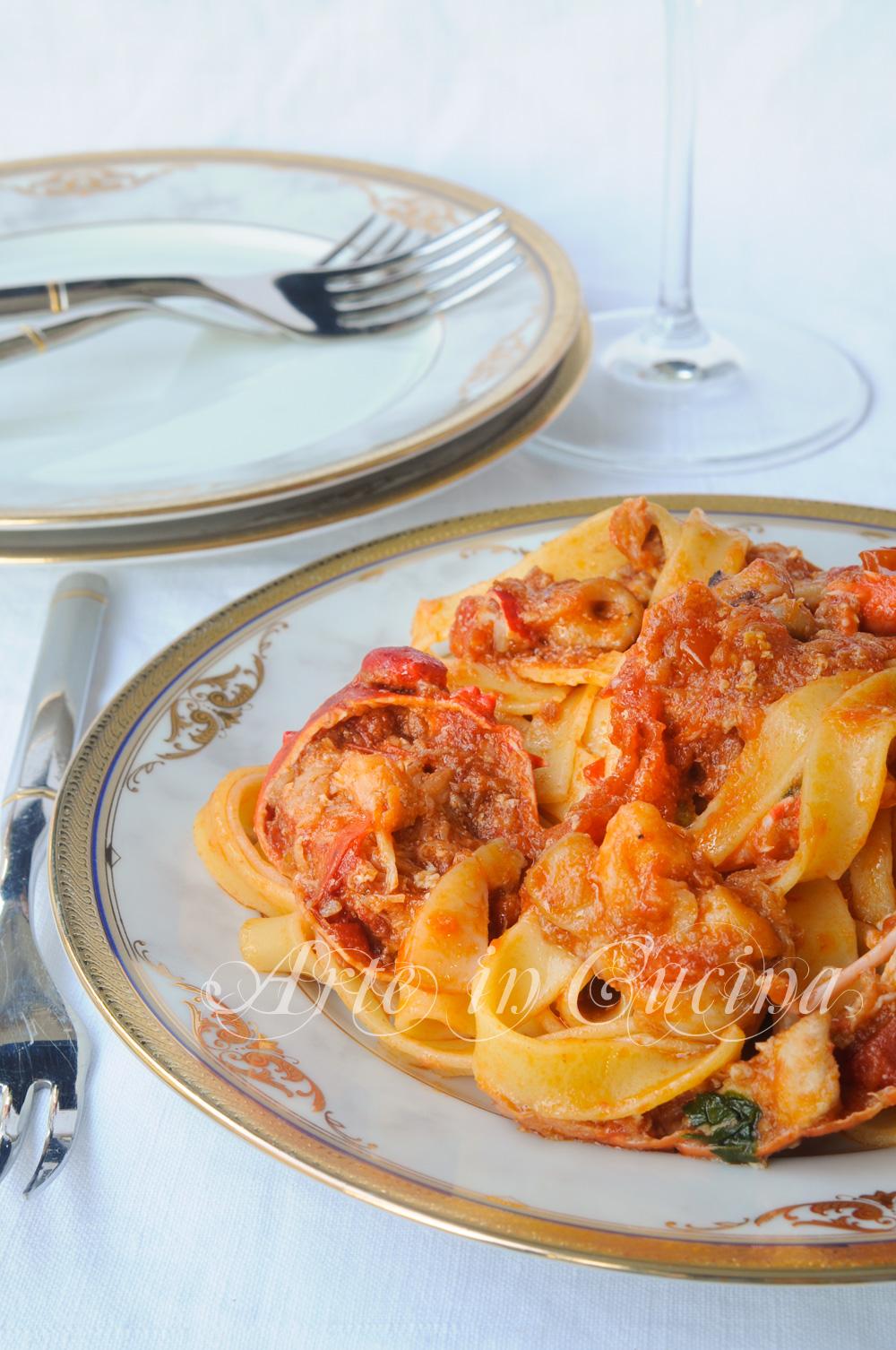 Fettuccine con astice e frutti di mare ricetta facile vickyart arte in cucina