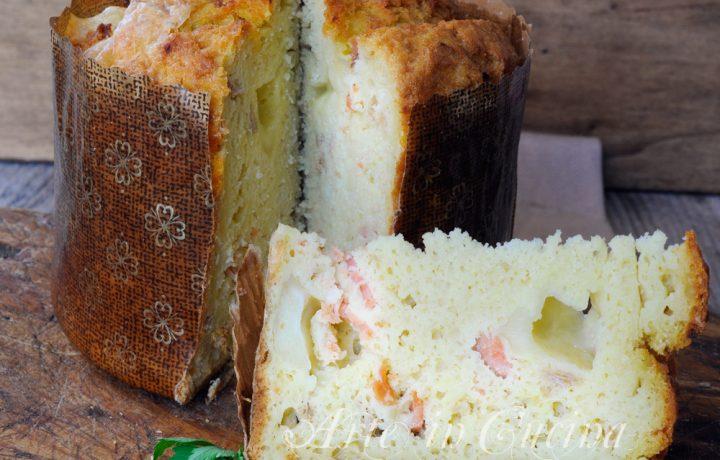 Panettone rustico con patate e salmone ricetta veloce