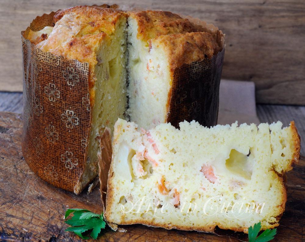 Panettone rustico con patate e salmone ricetta veloce vickyart arte in cucina