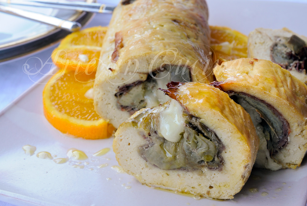 Polpettone di pollo ripieno con prosciutto e carciofi vickyart arte in cucina