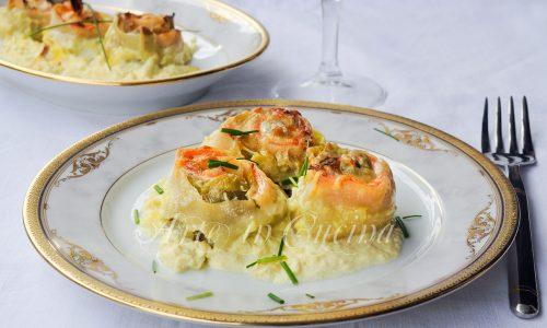 Rosette di pasta al salmone e carciofi piatto facile
