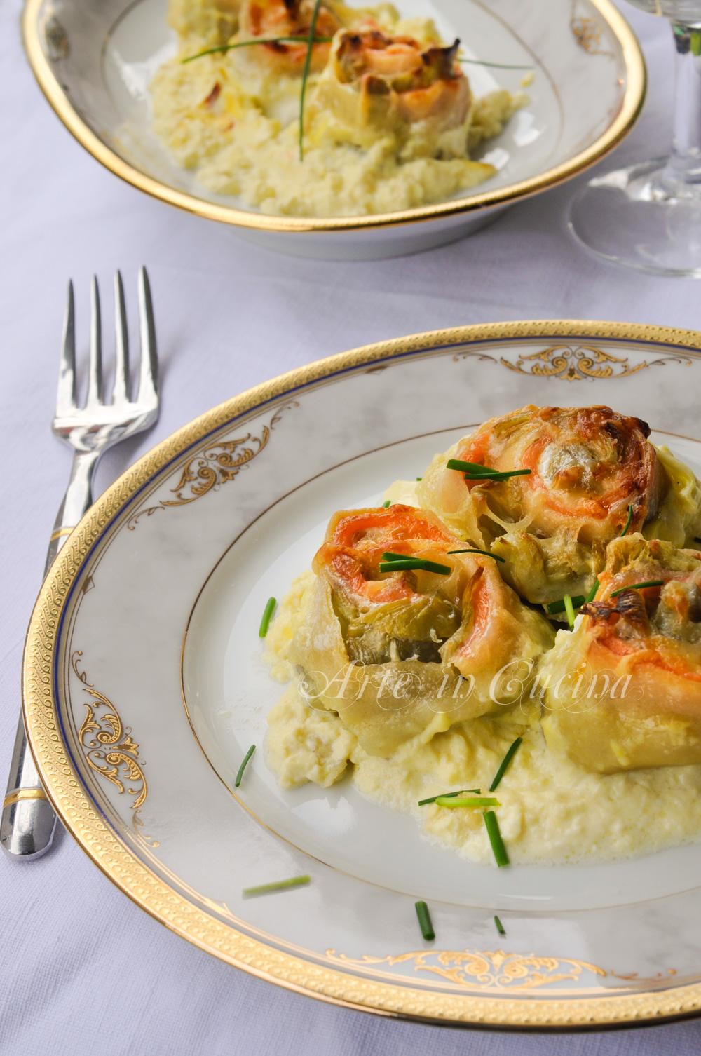 Rosette di pasta al salmone e carciofi ricetta primo piatto vickyart arte in cucina