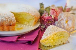 Crostata di frolla montata con crema all'arancia e mele