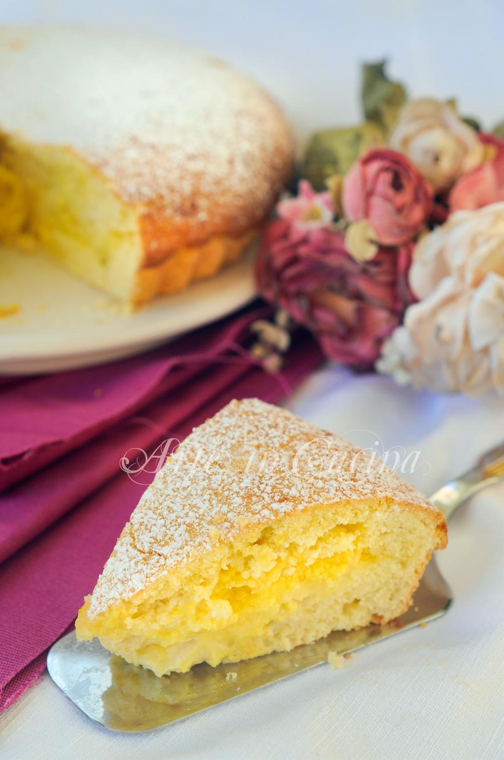 Crostata di frolla montata con crema all'arancia e mele vickyart arte in cucina