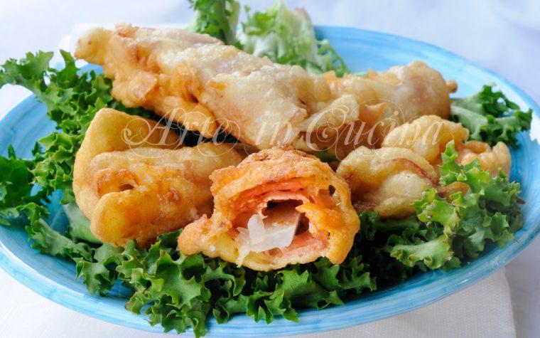 Finocchi fritti in pastella con prosciutto veloci