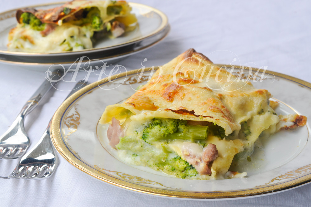 Lasagne broccoli e salsiccia con besciamella
