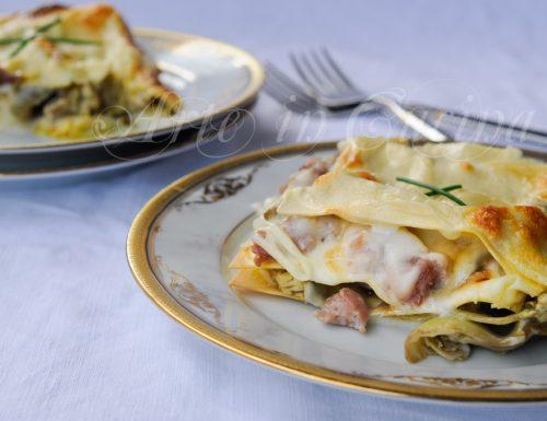Lasagne carciofi e salsiccia con besciamella
