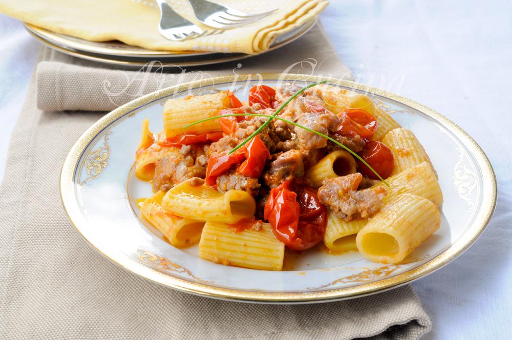 Pasta salsiccia e pomodorini ricetta veloce vickyart arte in cucina