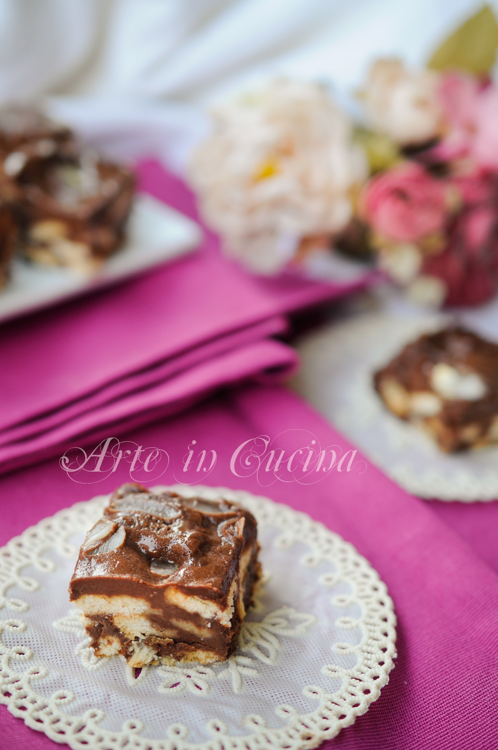 Quadrotti di biscotti cioccolato e mascarpone veloci vickyart arte in cucina