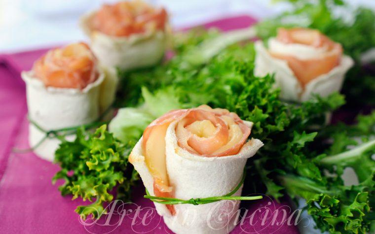 Rose di pancarre al prosciutto finger food veloce