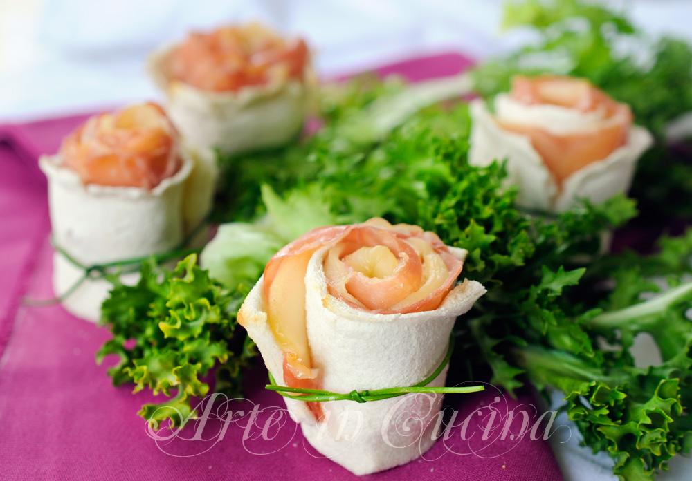 Rose di pancarre al prosciutto finger food veloce VICKYART ARTE IN CUCINA