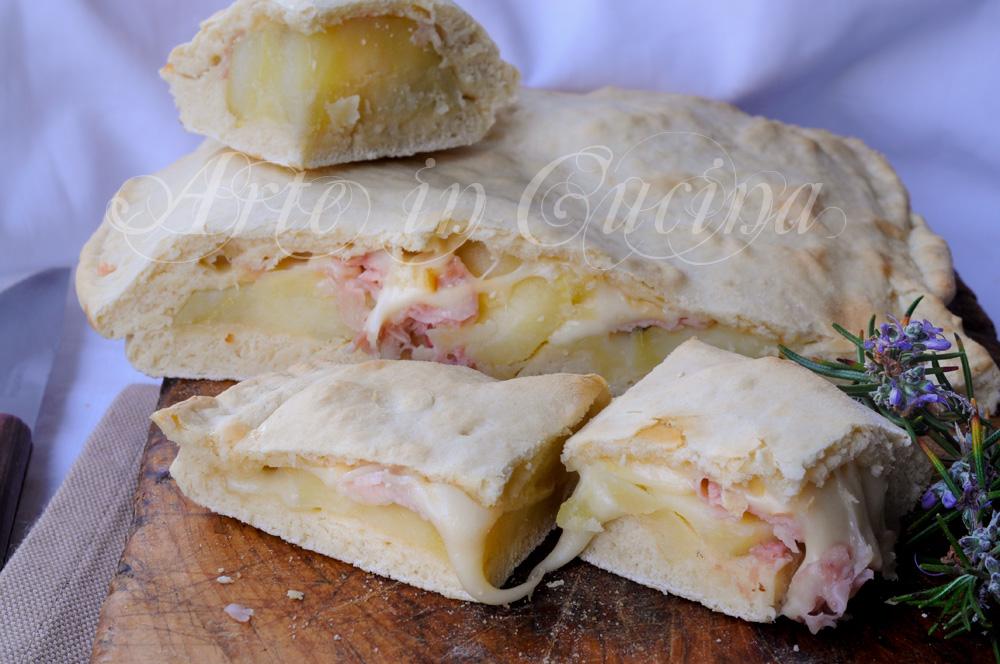 Schiacciata veloce patate e prosciutto ricetta facile vickyart arte in cucina