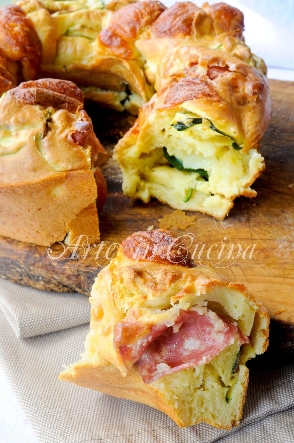Ciambella ai formaggi con zucchine e salame vickyart arte in cucina