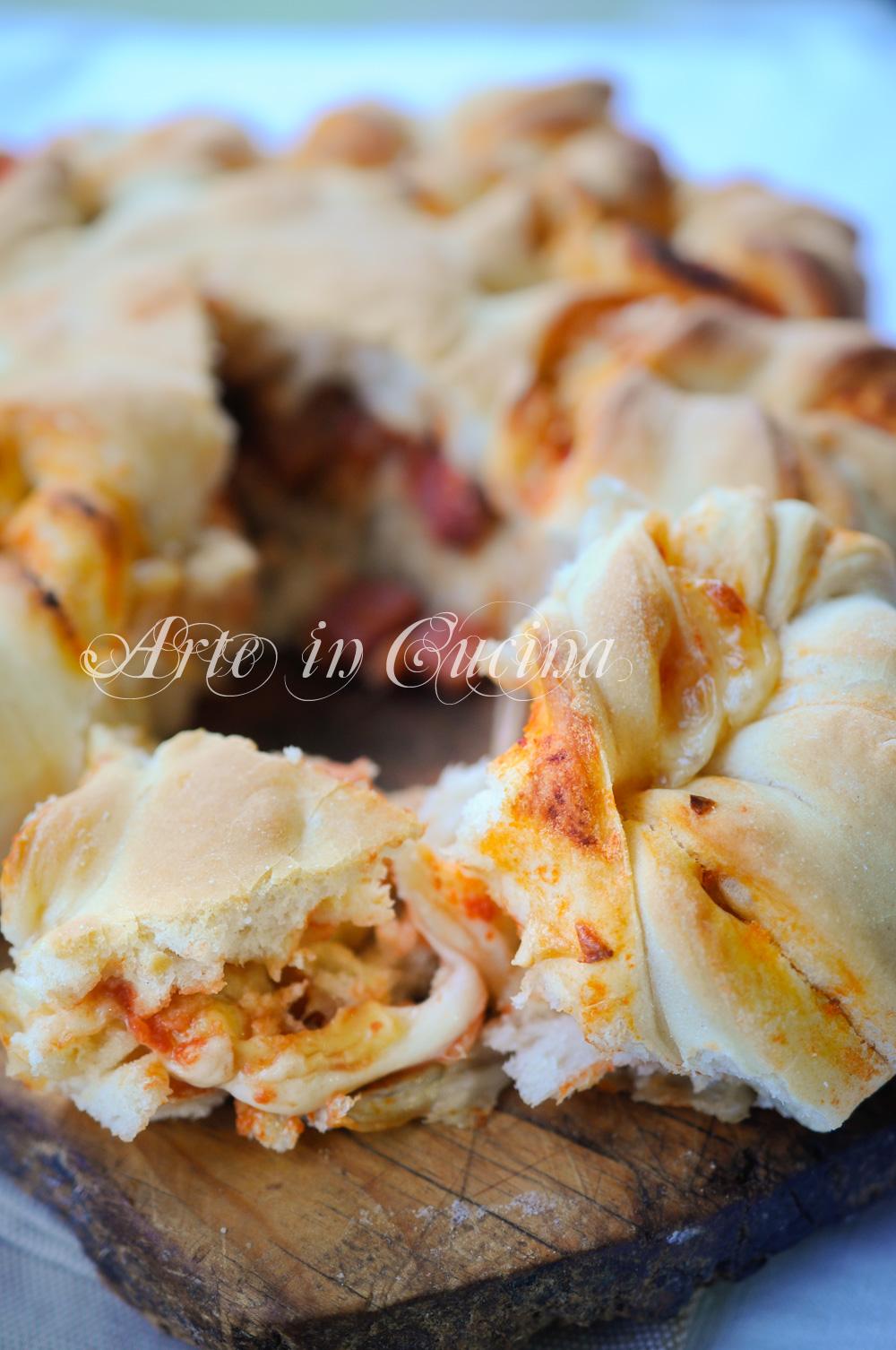 Fiore di pan brioche salato alla pizza ricetta facile vickyart arte in cucina