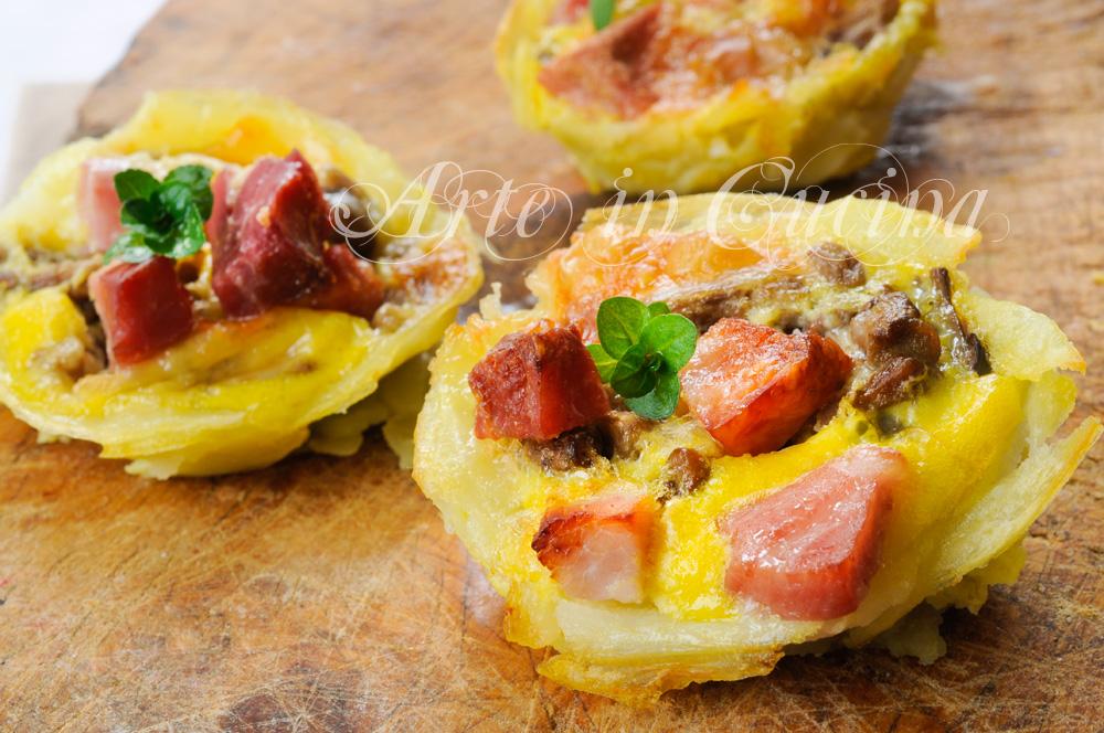 Mini tortini con funghi e salumi in sfoglia di patate vickyart arte in cucina