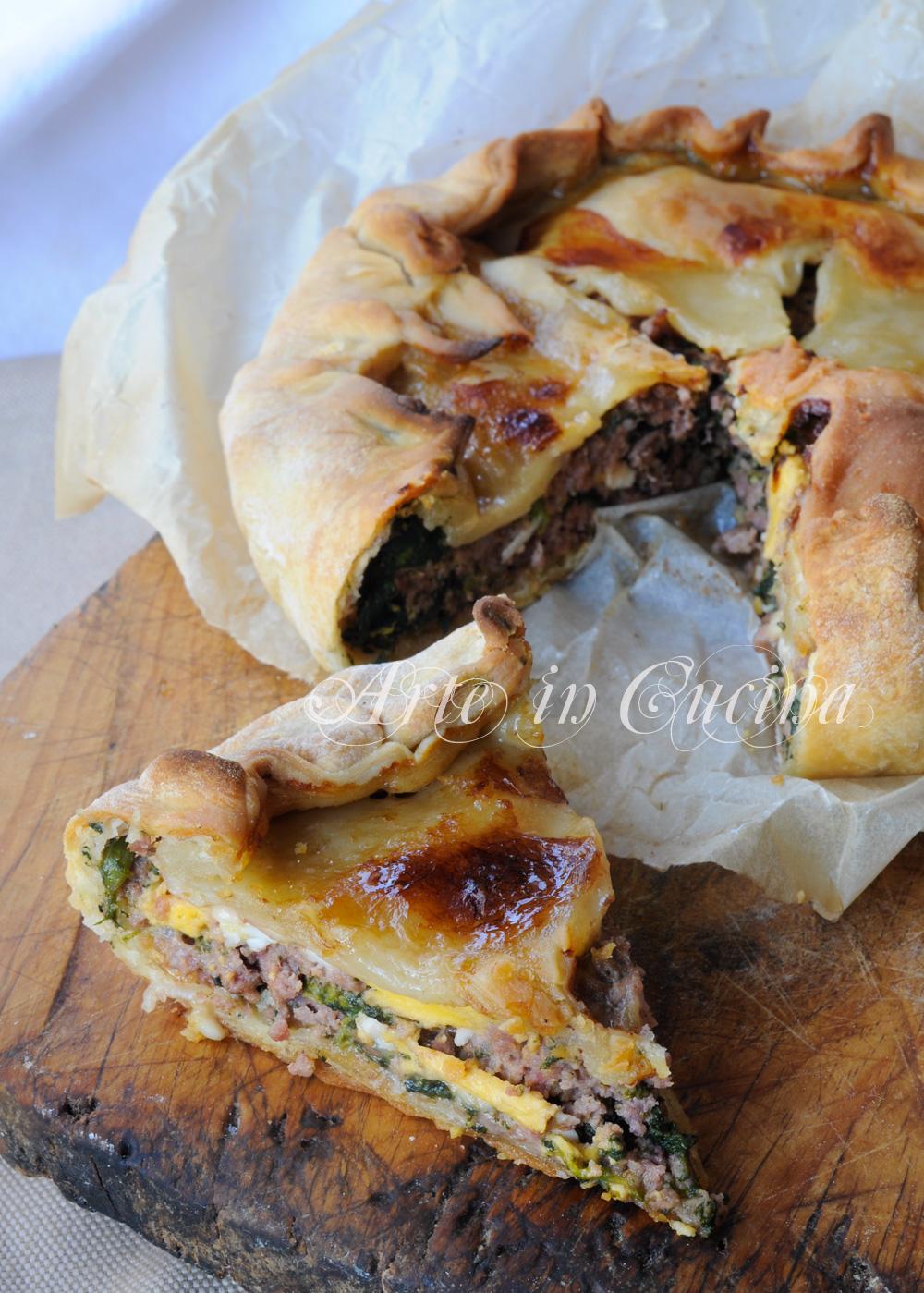 Torta di carne e spinaci salata ricetta facile vickyart arte in cucina