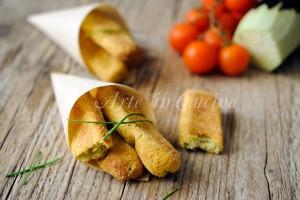 Bastoncini di melanzane e formaggio al forno