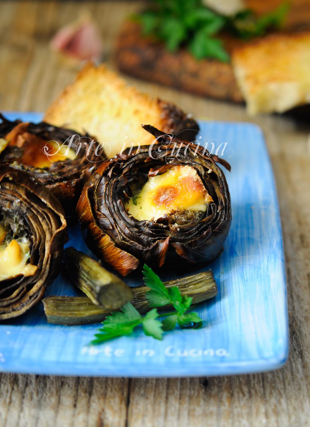 Carciofi al forno ripieni ricetta facile e veloce vickyart arte in cucina