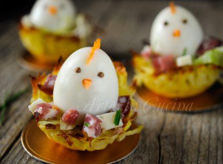 Cestini di patate per Pasqua con uova ricetta sfiziosa