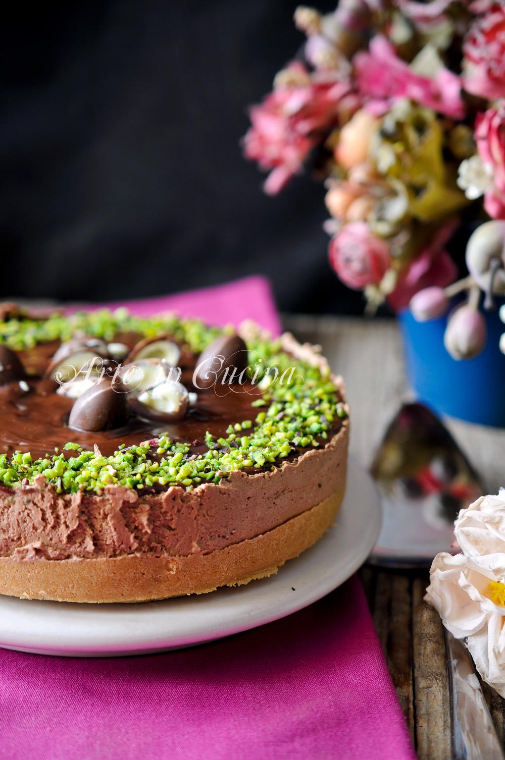 Cheesecake cioccolato e pistacchi ricetta veloce vickyart arte in cucina