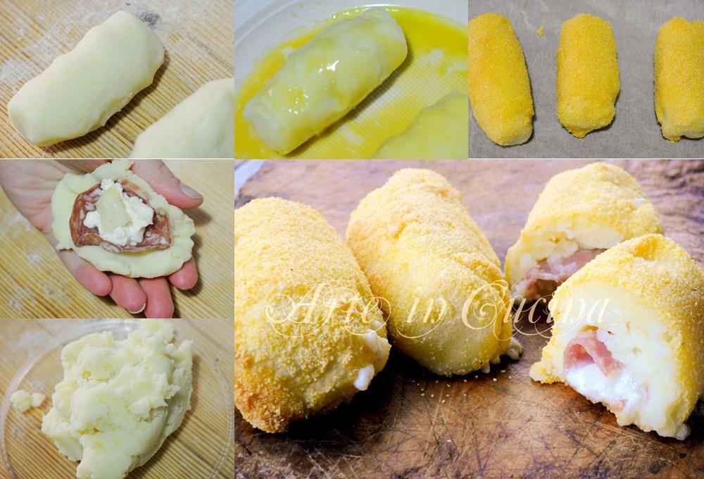 Crocchette al forno patate gorgonzola e salame vickyart arte in cucina
