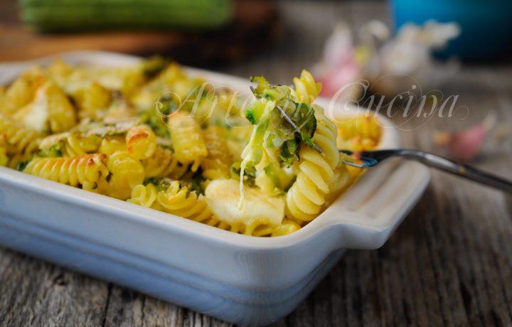 Fusilli con zucchine e provola gratinati al forno