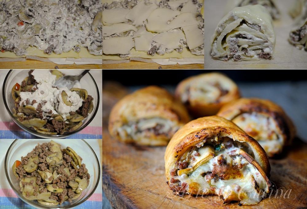 Girelle sfiziose di sfoglia con carne e funghi ricetta vickyart arte in cucina