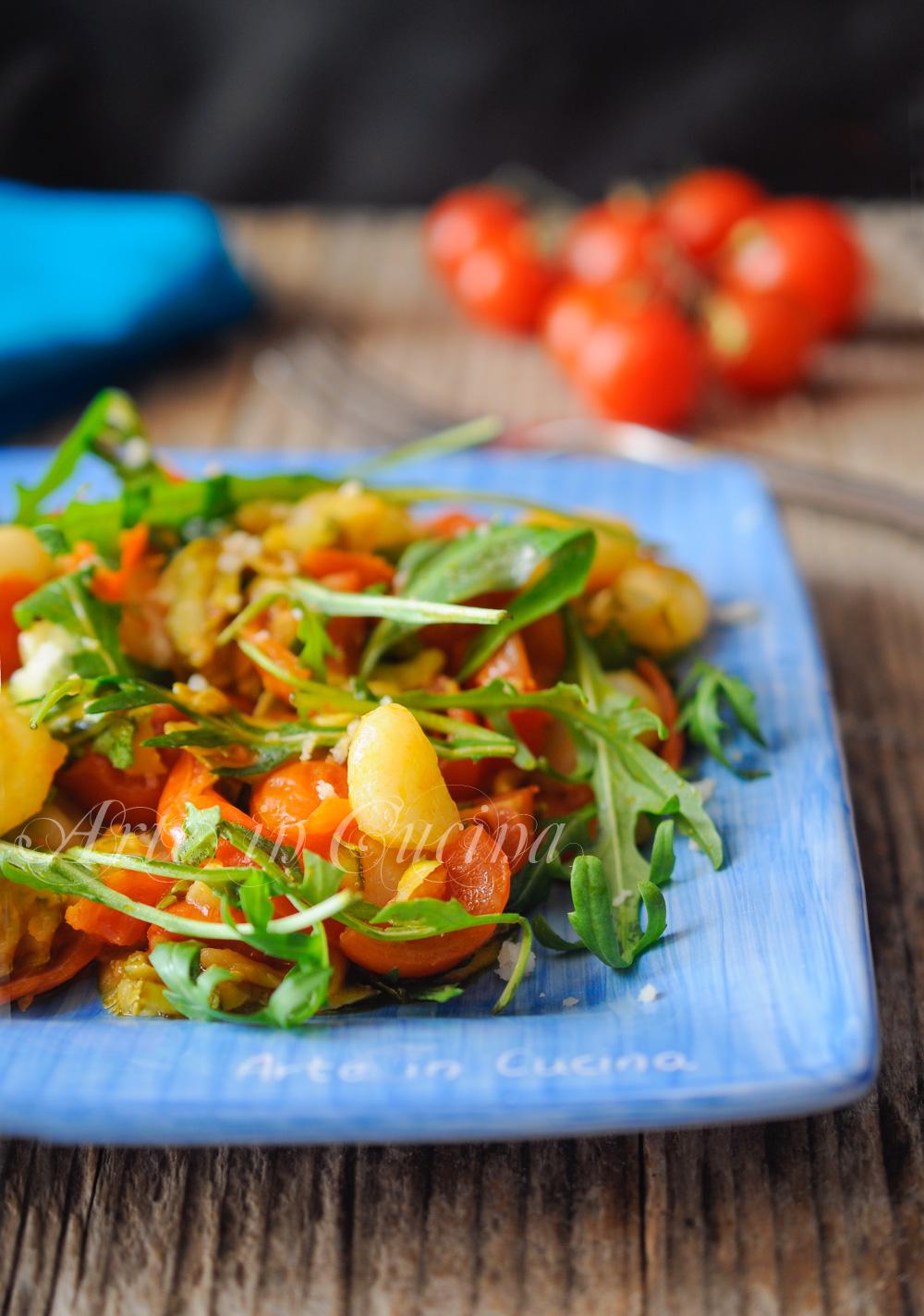Gnocchi con pomodorini rucola e zucchine veloci vickyart arte in cucina
