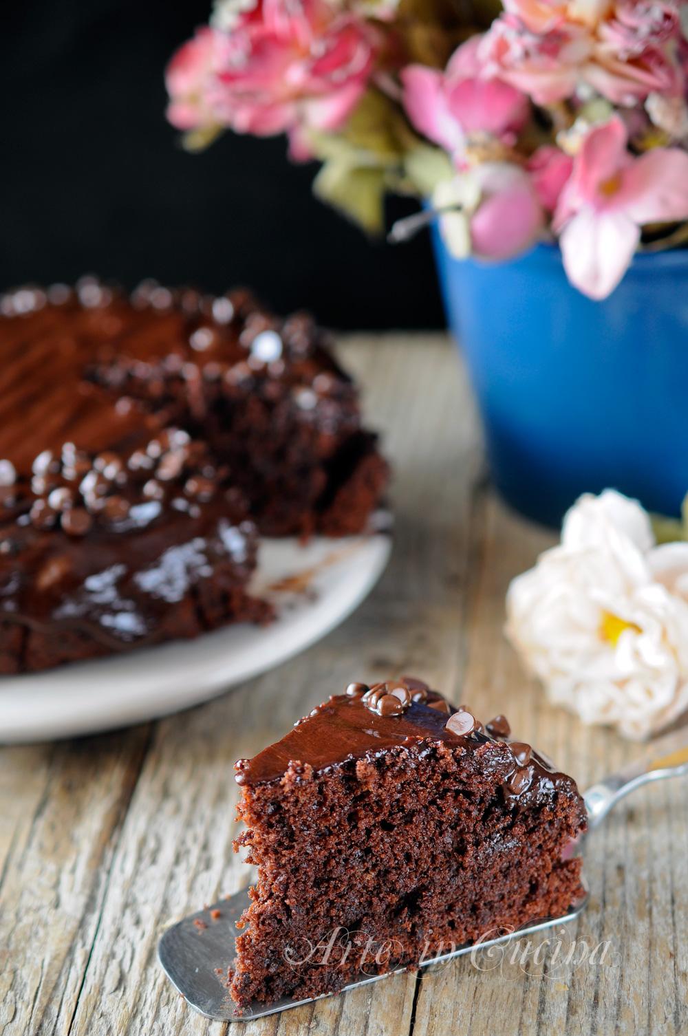 Mud cake al cioccolato con glassa torta veloce vickyart arte in cucina