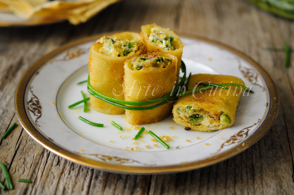 Paccheri zucchine speck e ricotta gratinati in padella vickyart arte in cucina