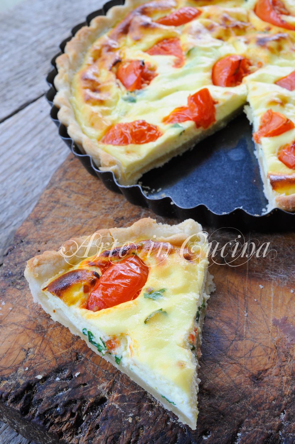 Quiche ricotta e pomodorini ricetta veloce vickyart arte in cucina