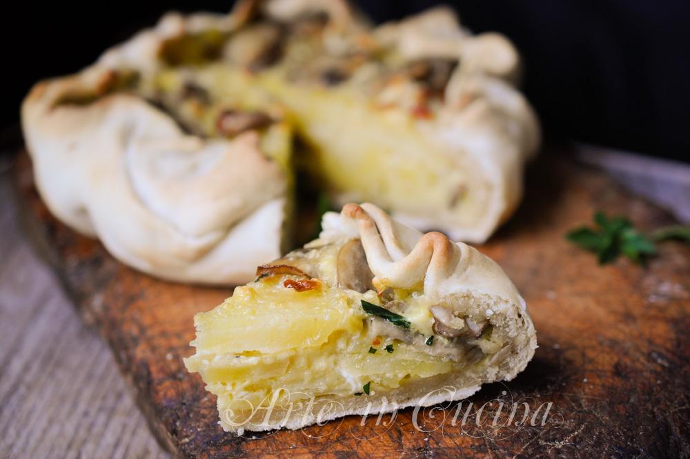 Torta baciocca con patate e funghi ricetta ligure vickyart arte in cucina