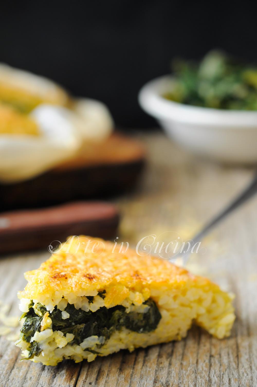 Torta di riso e scarole con provola al forno vickyart arte in cucina