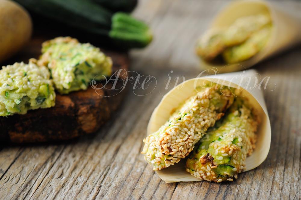 Bastoncini di zucchine e patate al formaggio vickyart arte in cucina
