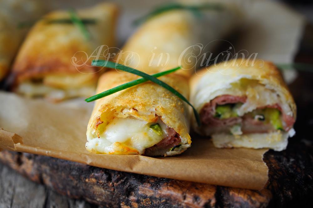 Involtini di sfoglia con zucchine prosciutto vickyart arte in cucina