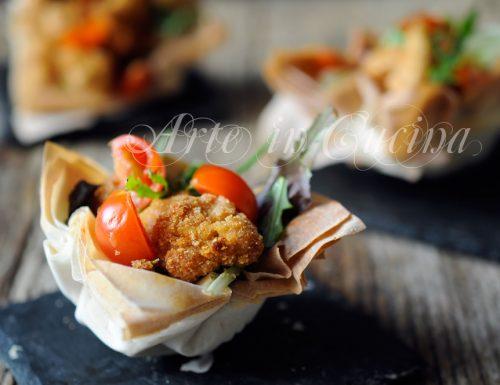 Cestini veloci con insalata e pollo sfizioso