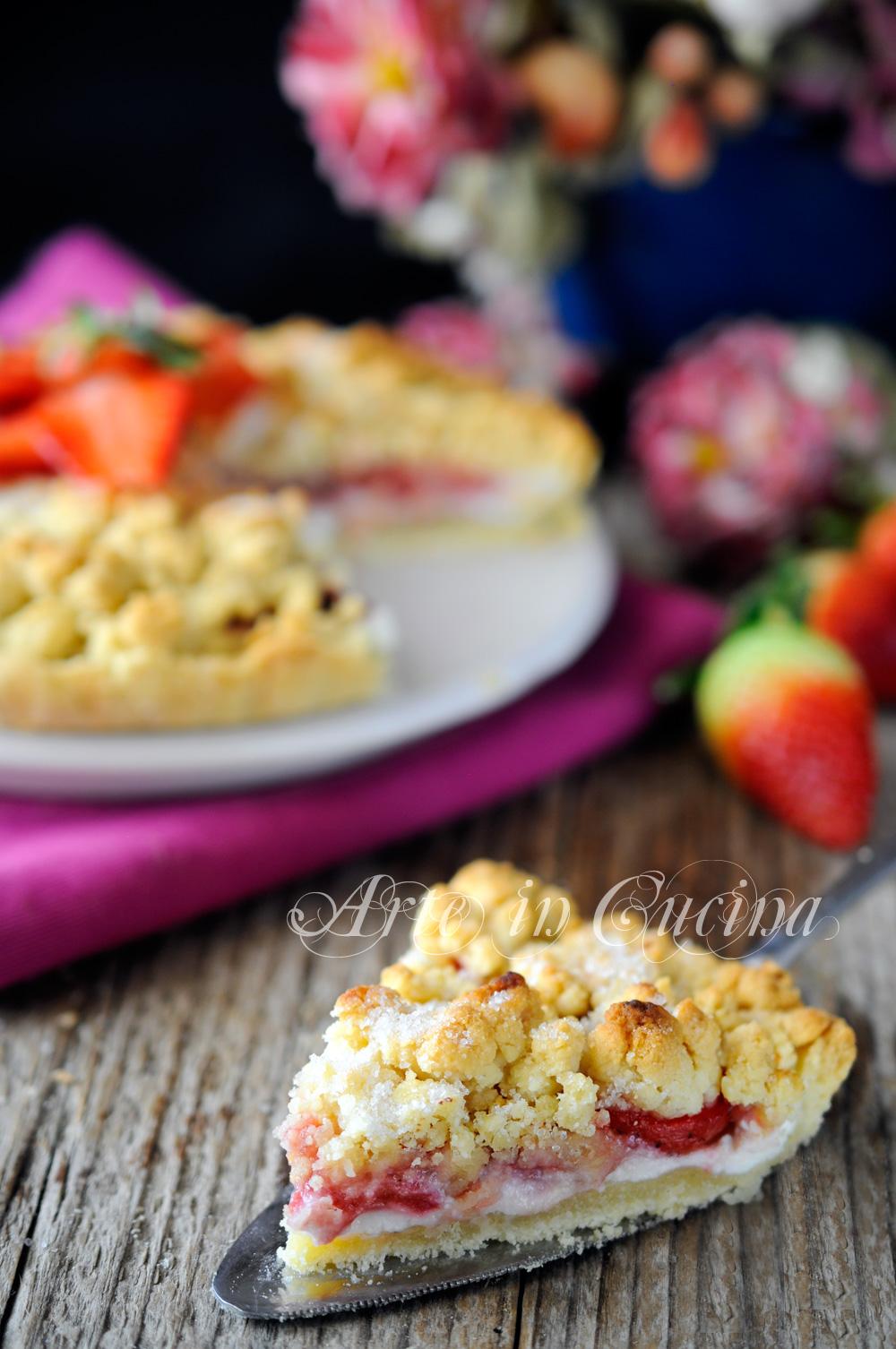 Crostata sbriciolata fragole ricotta e marmellata vickyart arte in cucina