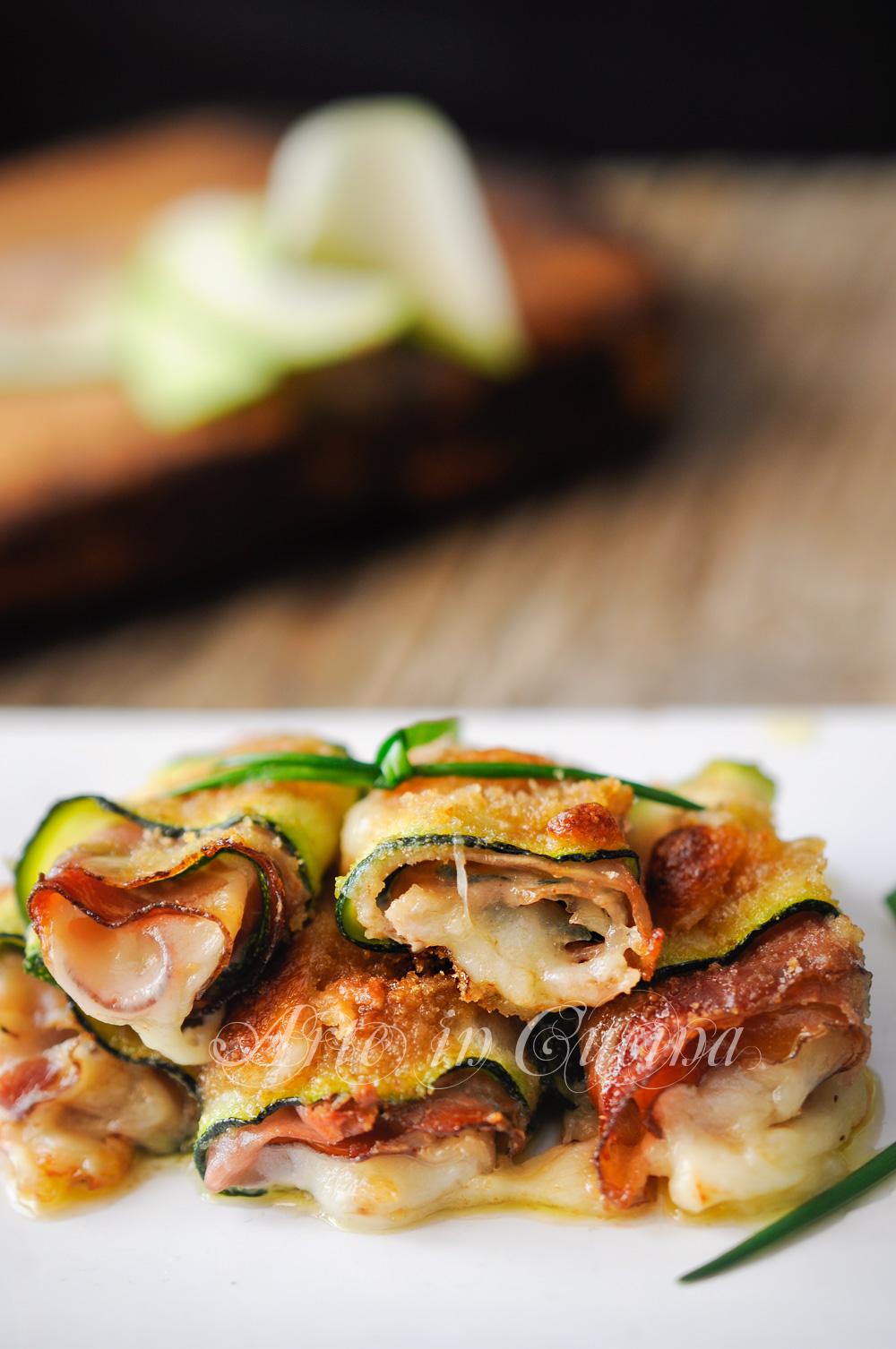 Involtini di zucchine gratinate ripieni al forno vickyart arte in cucina