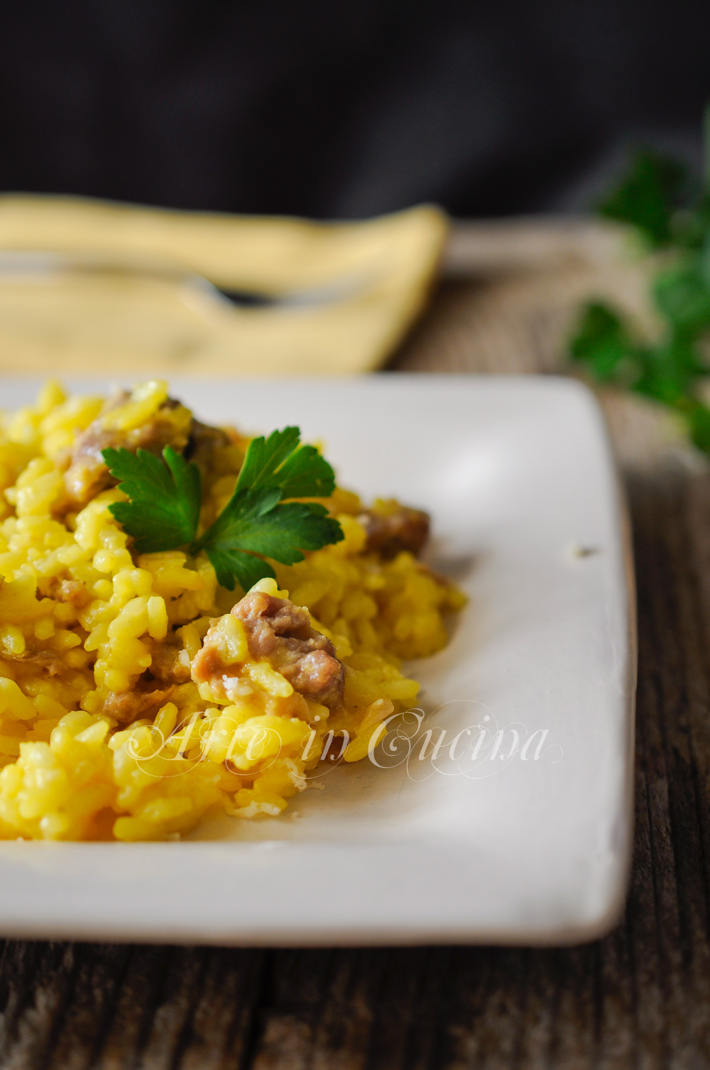 Risotto allo zafferano e salsiccia ricetta facile vickyart arte in cucina