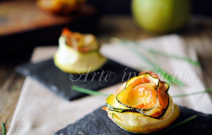 Rose di zucchine e prosciutto senza sfoglia