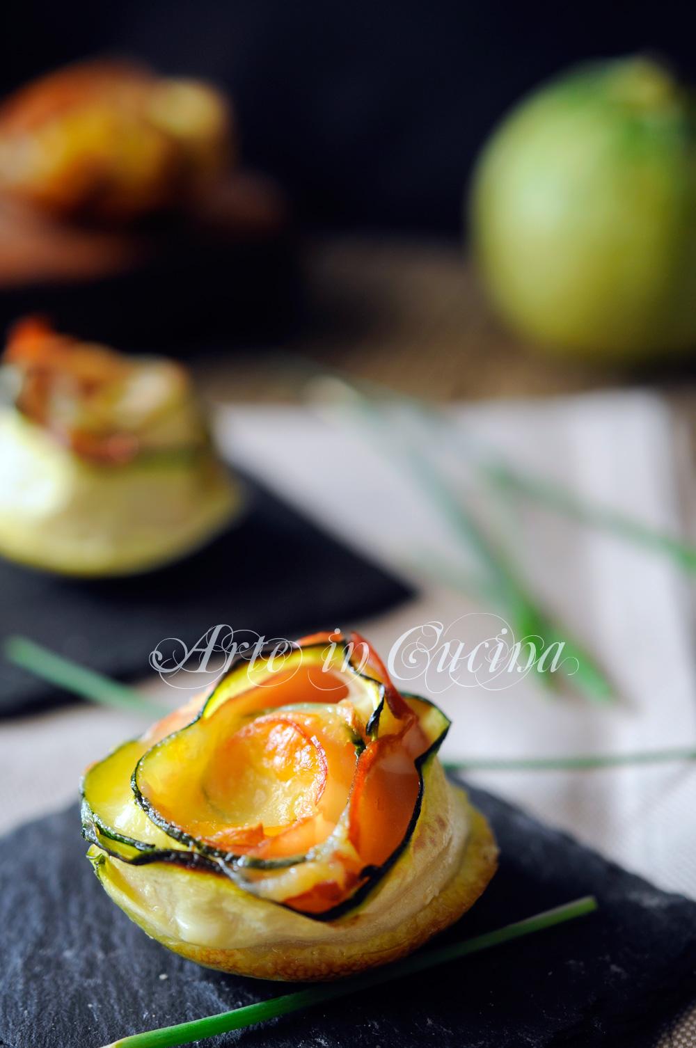 Rose di zucchine e prosciutto senza sfoglia vickyart arte in cucina
